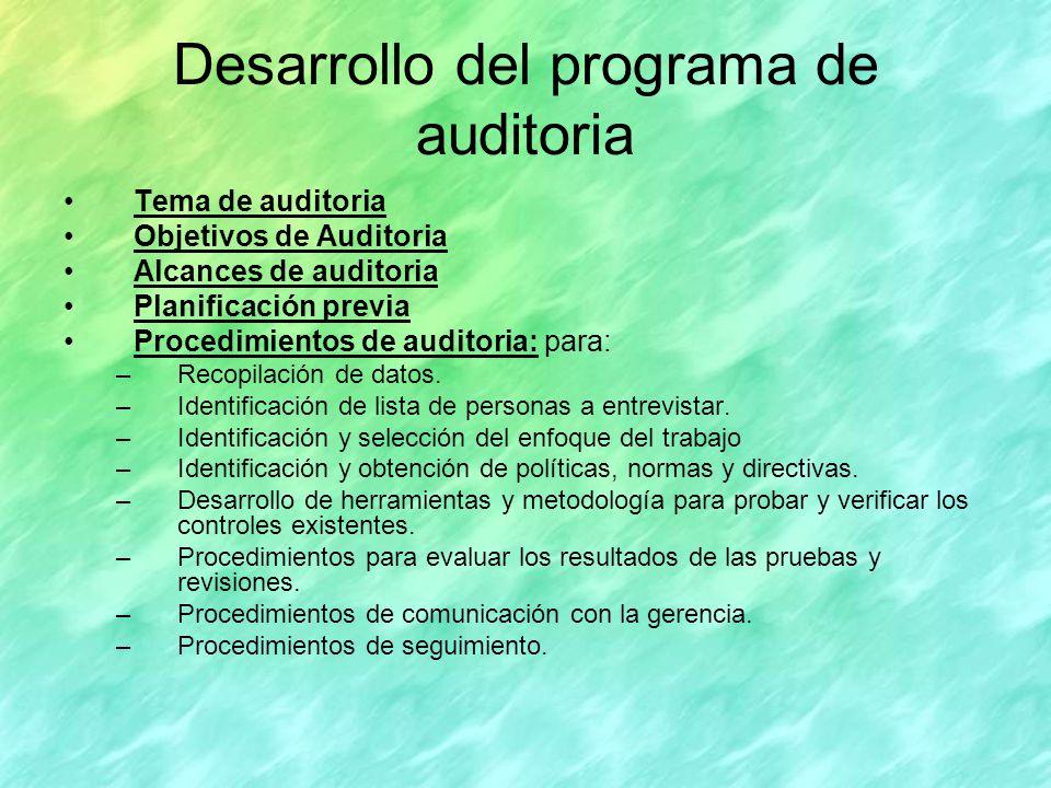 Desarrollo del programa de auditoria
