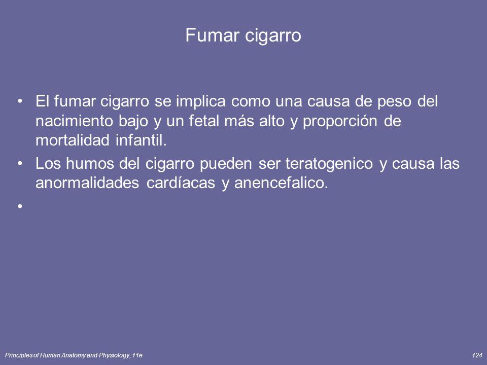 Fumar cigarro El fumar cigarro se implica como una causa de peso del nacimiento bajo y un fetal más alto y proporción de mortalidad infantil.