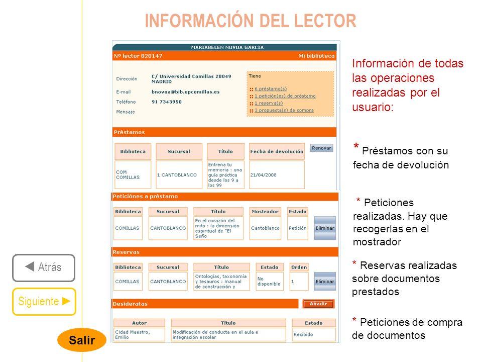 INFORMACIÓN DEL LECTOR