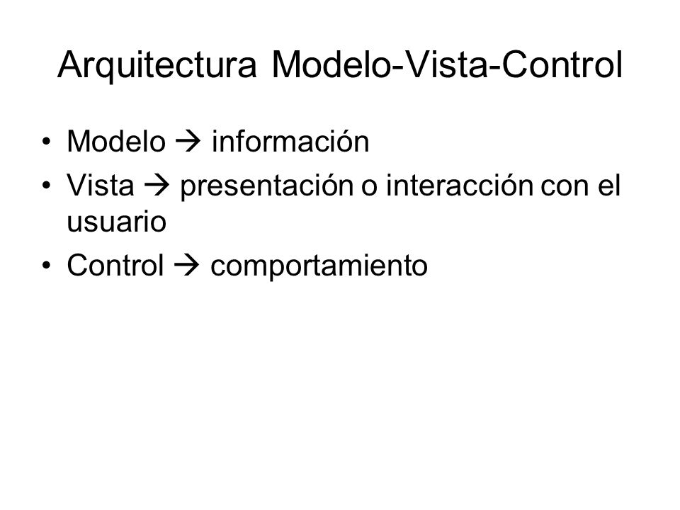 Arquitectura Modelo-Vista-Control
