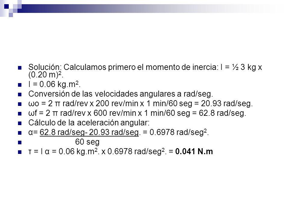 Solución: Calculamos primero el momento de inercia: I = ½ 3 kg x (0