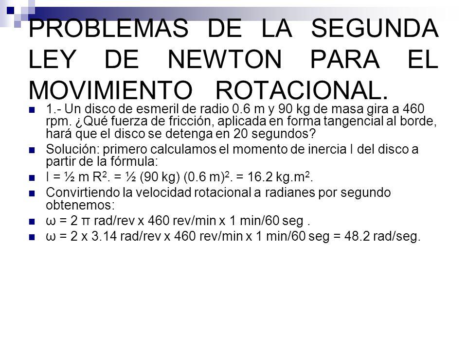 PROBLEMAS DE LA SEGUNDA LEY DE NEWTON PARA EL MOVIMIENTO ROTACIONAL.