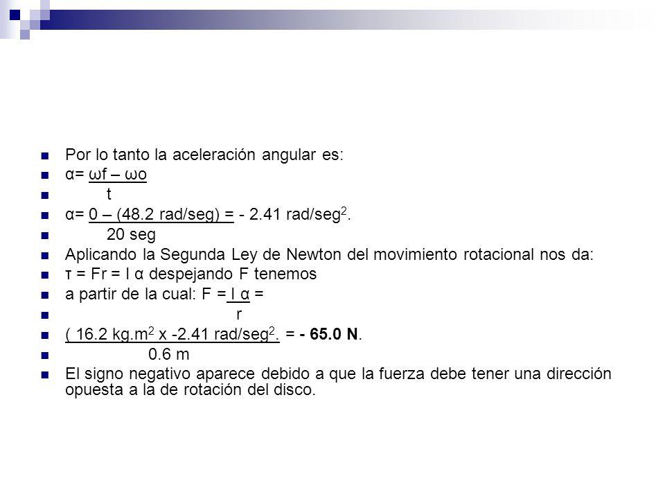 Por lo tanto la aceleración angular es: