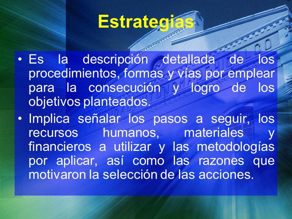 Estrategias Es la descripción detallada de los procedimientos, formas y vías por emplear para la consecución y logro de los objetivos planteados.