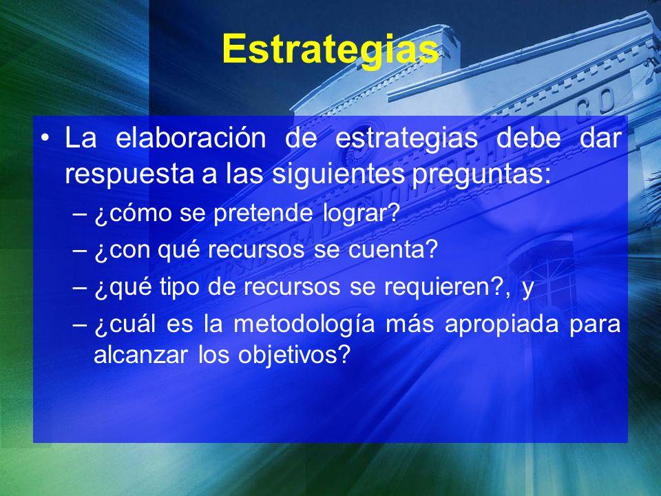 Estrategias La elaboración de estrategias debe dar respuesta a las siguientes preguntas: ¿cómo se pretende lograr