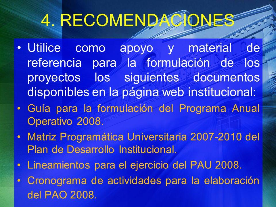 4. RECOMENDACIONES
