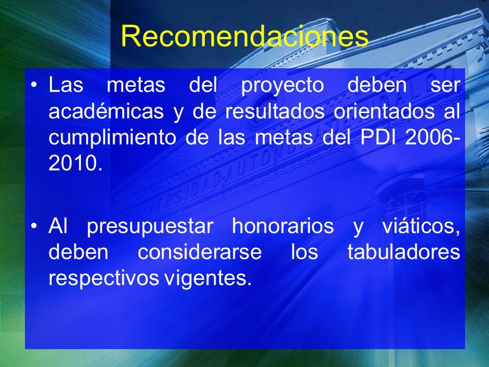 Recomendaciones Las metas del proyecto deben ser académicas y de resultados orientados al cumplimiento de las metas del PDI 2006-2010.