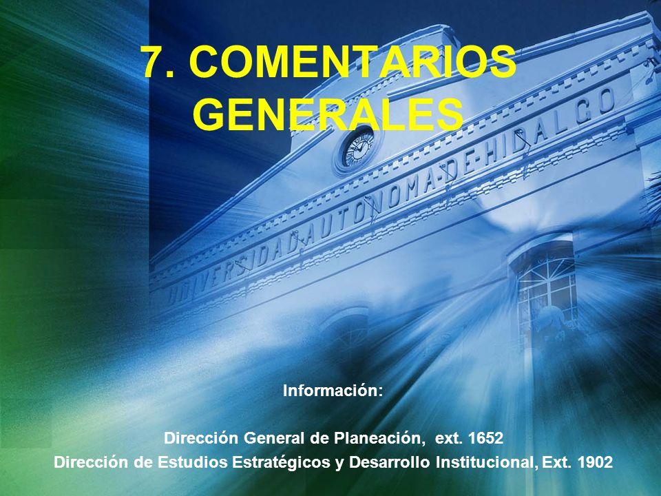 7. COMENTARIOS GENERALES