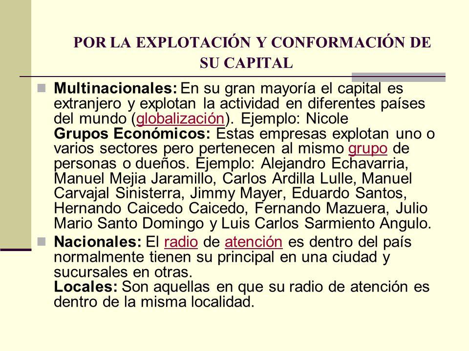 POR LA EXPLOTACIÓN Y CONFORMACIÓN DE SU CAPITAL