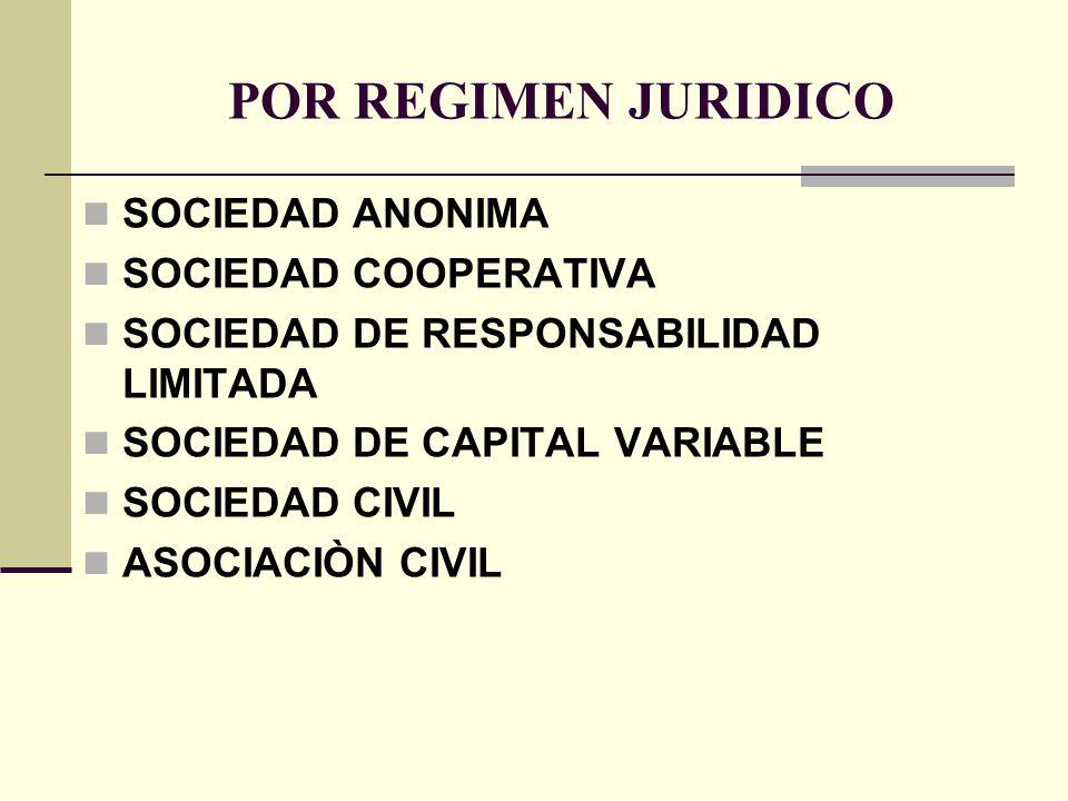 POR REGIMEN JURIDICO SOCIEDAD ANONIMA SOCIEDAD COOPERATIVA