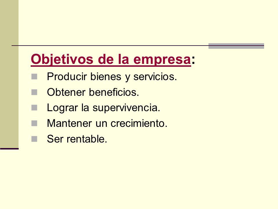Objetivos de la empresa: