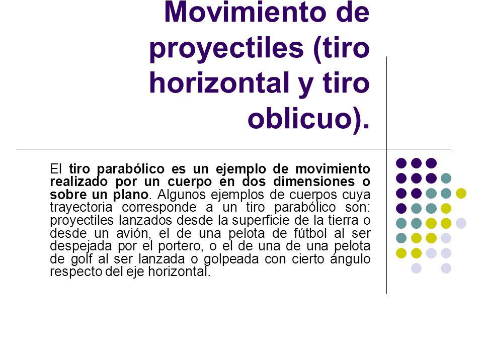 Subtema 1.3.2. Movimiento de proyectiles (tiro horizontal y tiro oblicuo).