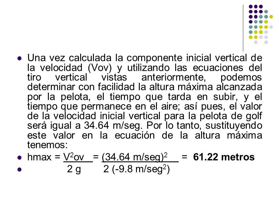 Una vez calculada la componente inicial vertical de la velocidad (Vov) y utilizando las ecuaciones del tiro vertical vistas anteriormente, podemos determinar con facilidad la altura máxima alcanzada por la pelota, el tiempo que tarda en subir, y el tiempo que permanece en el aire; así pues, el valor de la velocidad inicial vertical para la pelota de golf será igual a 34.64 m/seg. Por lo tanto, sustituyendo este valor en la ecuación de la altura máxima tenemos: