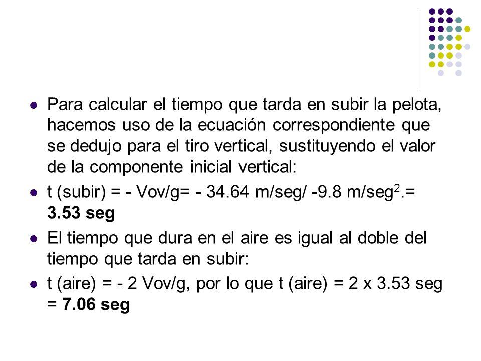 Para calcular el tiempo que tarda en subir la pelota, hacemos uso de la ecuación correspondiente que se dedujo para el tiro vertical, sustituyendo el valor de la componente inicial vertical: