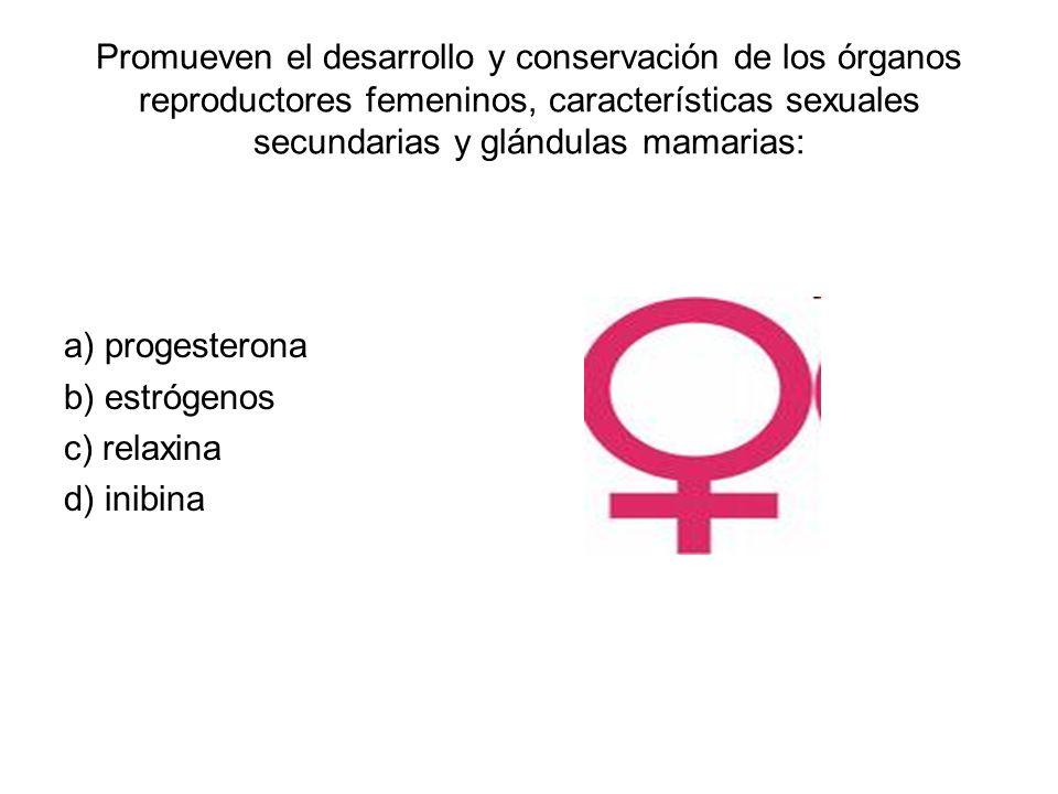 Promueven el desarrollo y conservación de los órganos reproductores femeninos, características sexuales secundarias y glándulas mamarias: