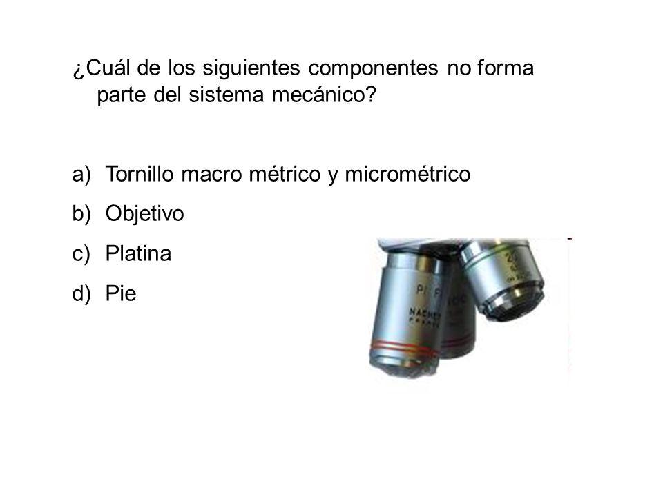 ¿Cuál de los siguientes componentes no forma parte del sistema mecánico
