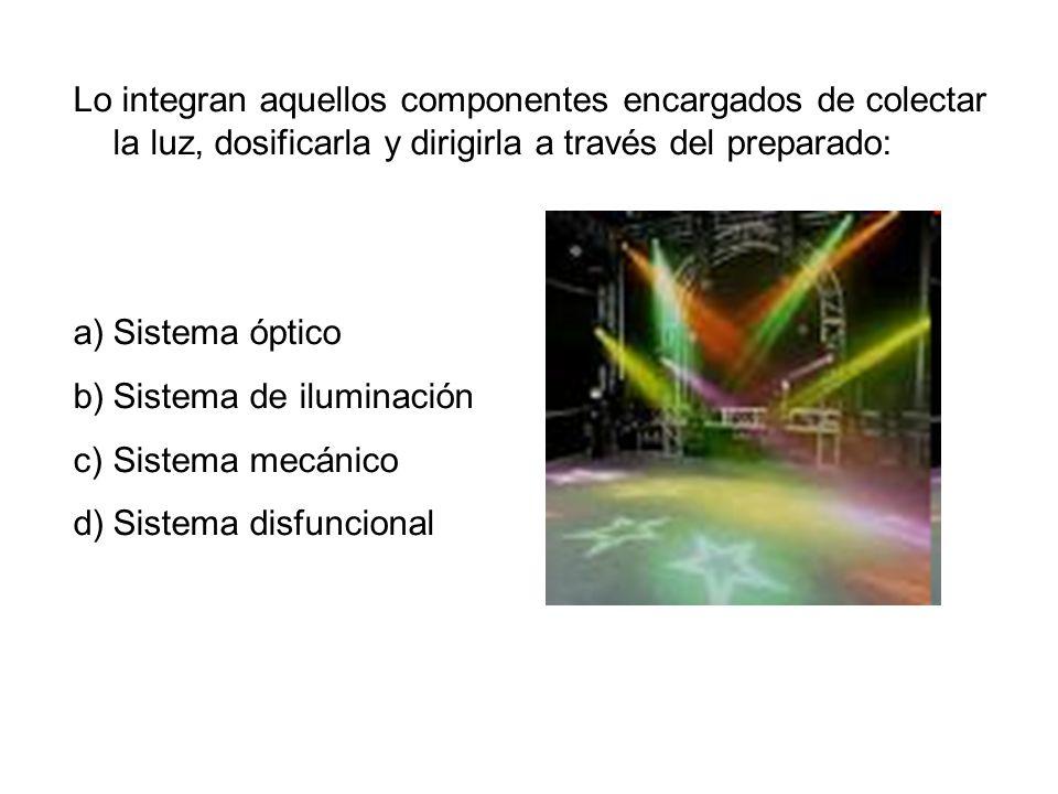 Lo integran aquellos componentes encargados de colectar la luz, dosificarla y dirigirla a través del preparado: