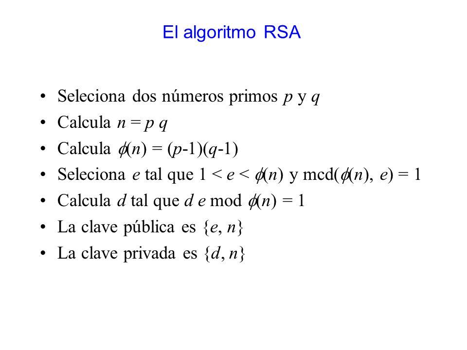 El algoritmo RSA Seleciona dos números primos p y q. Calcula n = p q. Calcula f(n) = (p-1)(q-1)