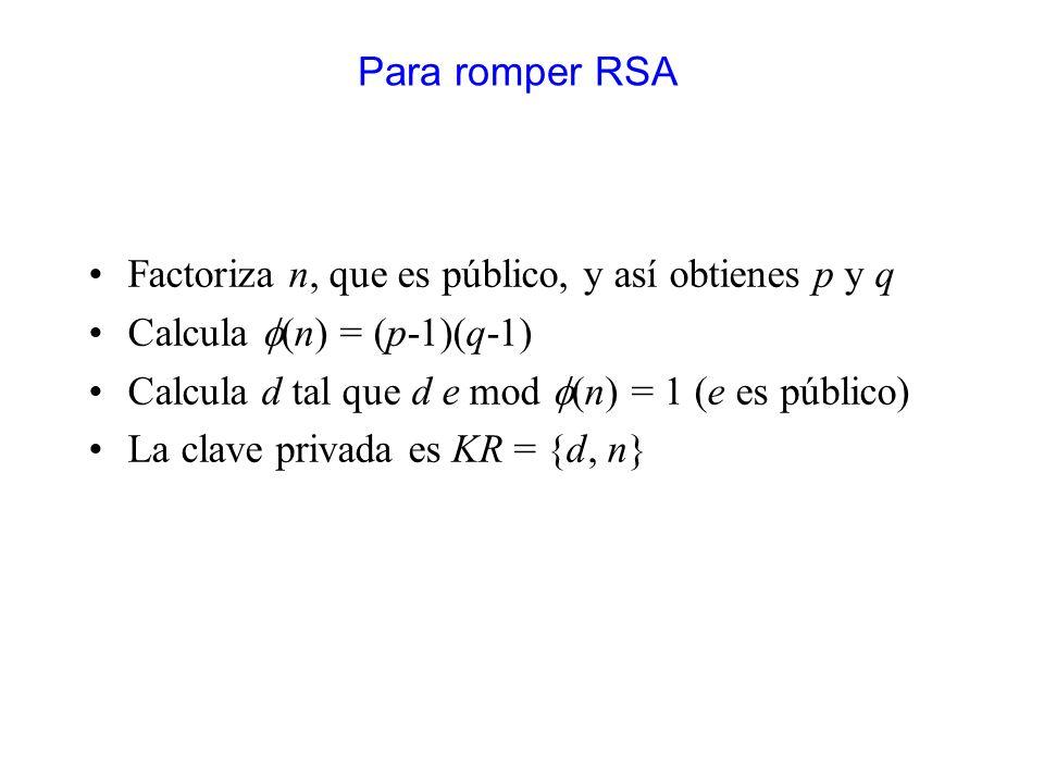 Para romper RSA Factoriza n, que es público, y así obtienes p y q. Calcula f(n) = (p-1)(q-1) Calcula d tal que d e mod f(n) = 1 (e es público)