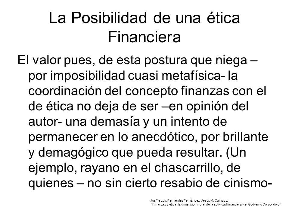 La Posibilidad de una ética Financiera