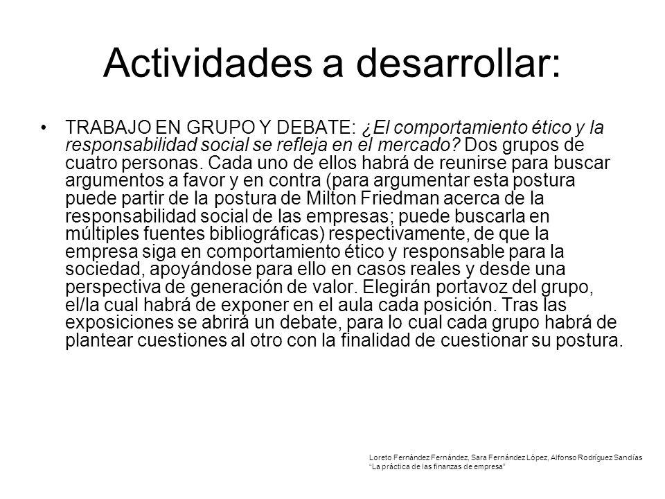 Actividades a desarrollar: