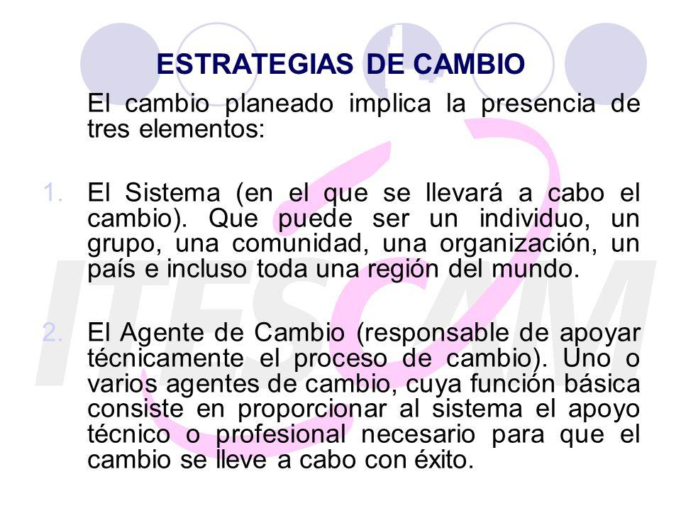 ESTRATEGIAS DE CAMBIO El cambio planeado implica la presencia de tres elementos: