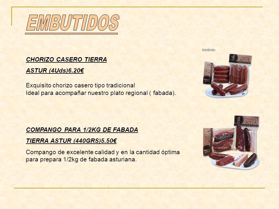 EMBUTIDOS CHORIZO CASERO TIERRA ASTUR (4Uds)6.20€