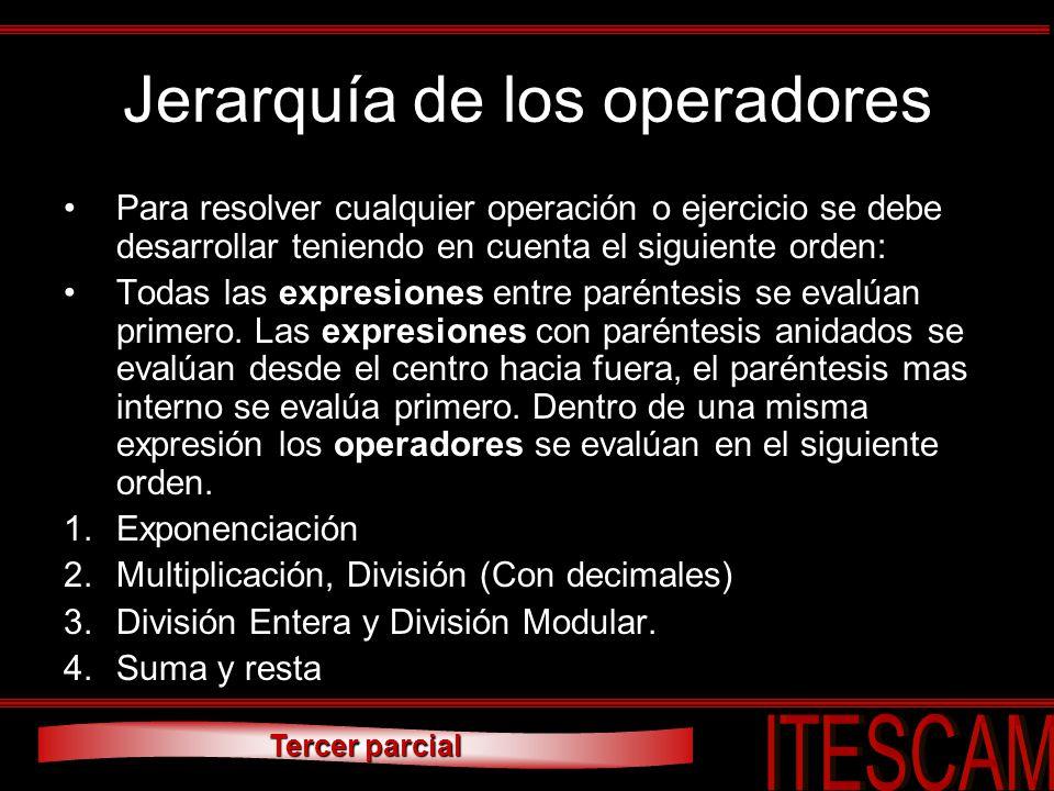 Jerarquía de los operadores