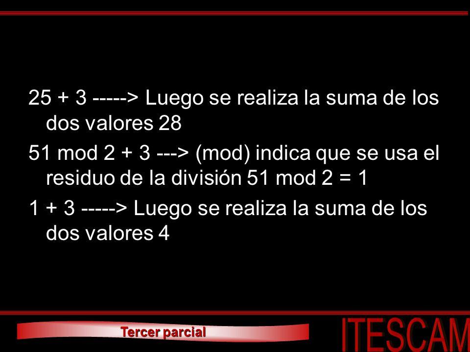 25 + 3 -----> Luego se realiza la suma de los dos valores 28