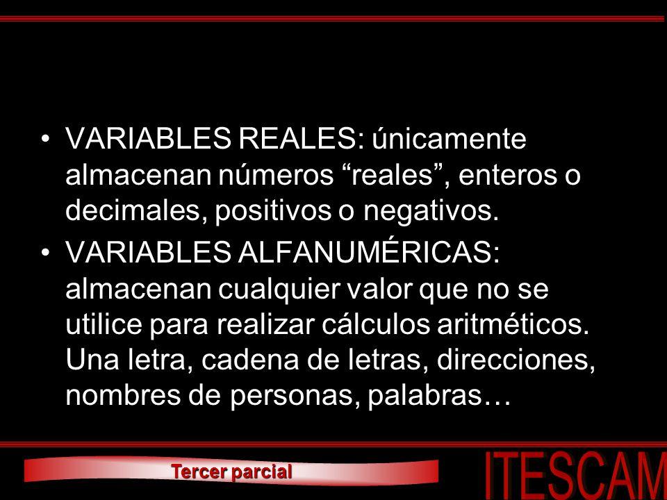 VARIABLES REALES: únicamente almacenan números reales , enteros o decimales, positivos o negativos.