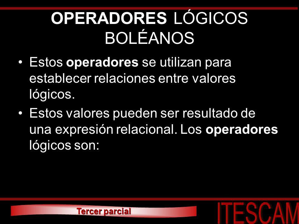 OPERADORES LÓGICOS BOLÉANOS