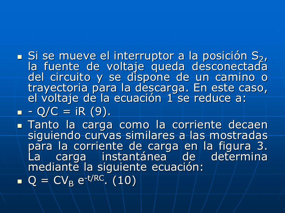 Si se mueve el interruptor a la posición S2, la fuente de voltaje queda desconectada del circuito y se dispone de un camino o trayectoria para la descarga. En este caso, el voltaje de la ecuación 1 se reduce a: