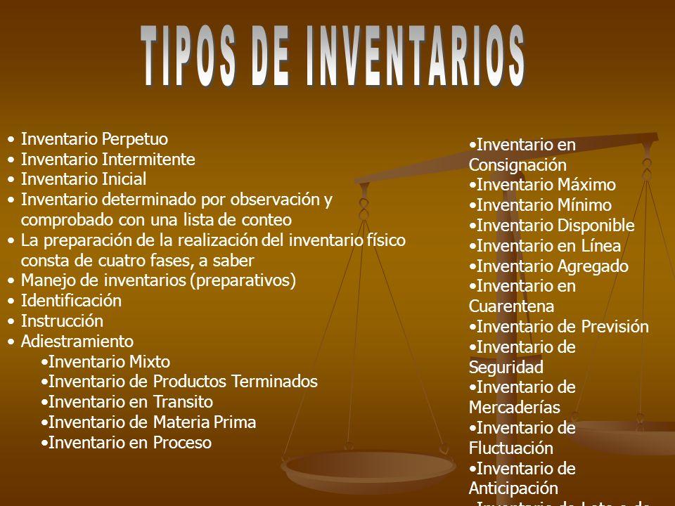 TIPOS DE INVENTARIOS Inventario Perpetuo Inventario en Consignación