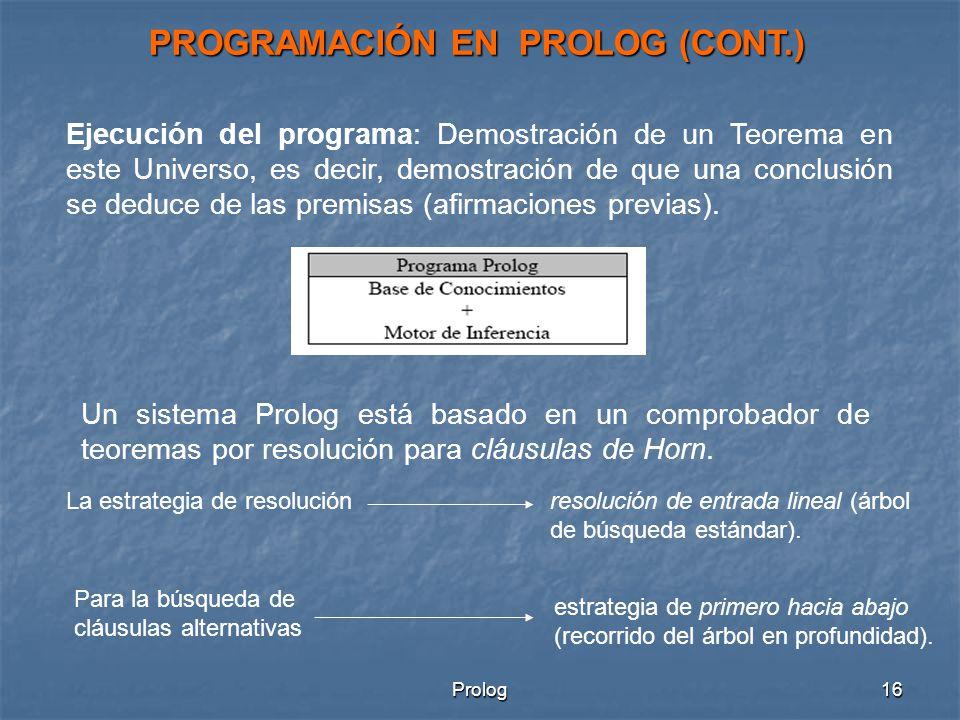 PROGRAMACIÓN EN PROLOG (CONT.)