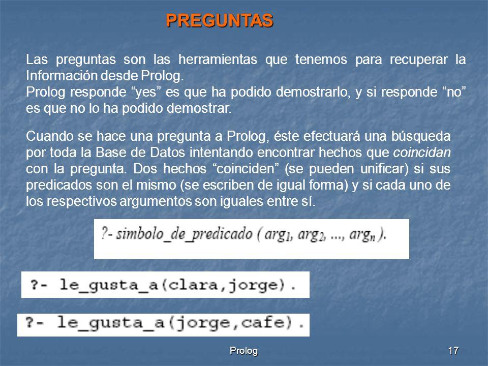 PREGUNTAS Las preguntas son las herramientas que tenemos para recuperar la Información desde Prolog.