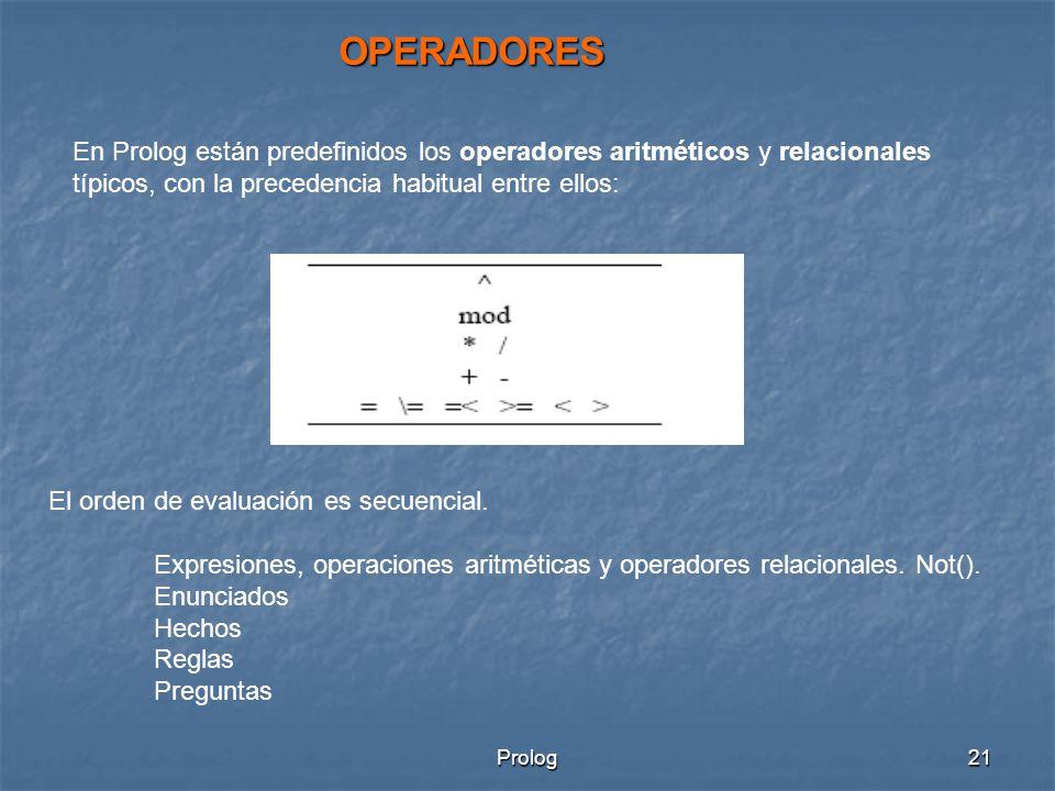 OPERADORES En Prolog están predefinidos los operadores aritméticos y relacionales típicos, con la precedencia habitual entre ellos: