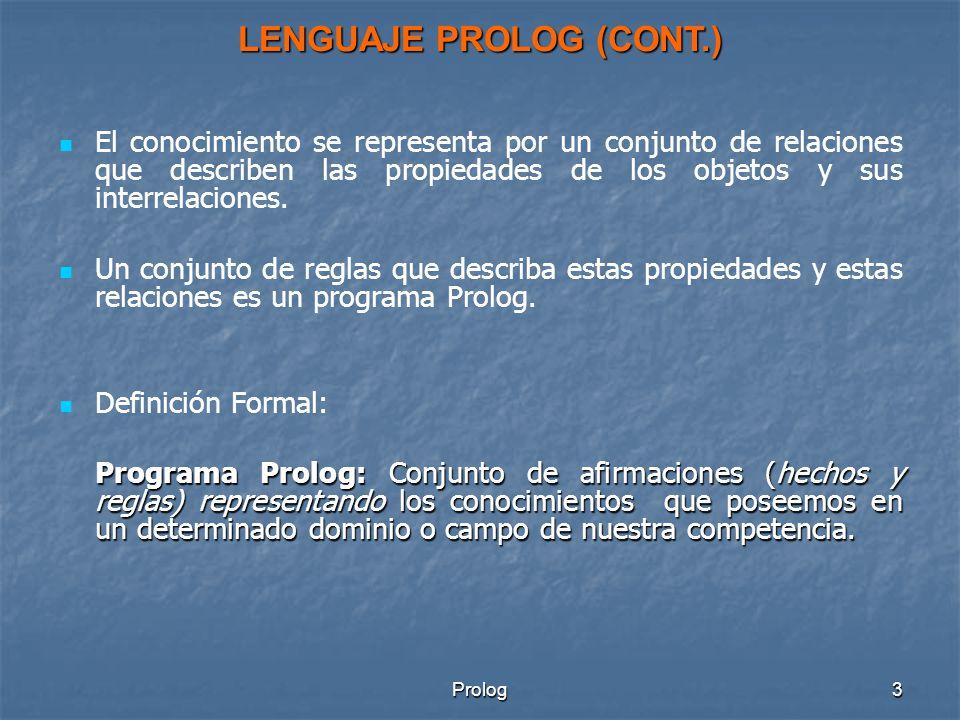 LENGUAJE PROLOG (CONT.)