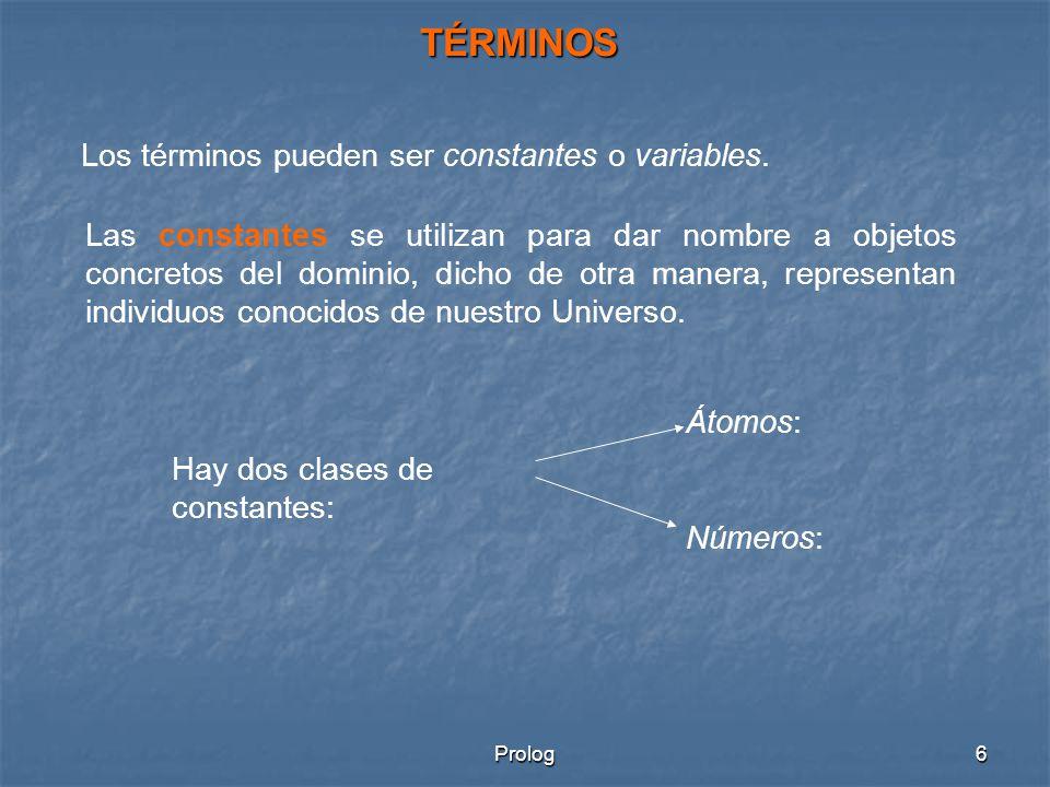 TÉRMINOS Los términos pueden ser constantes o variables.