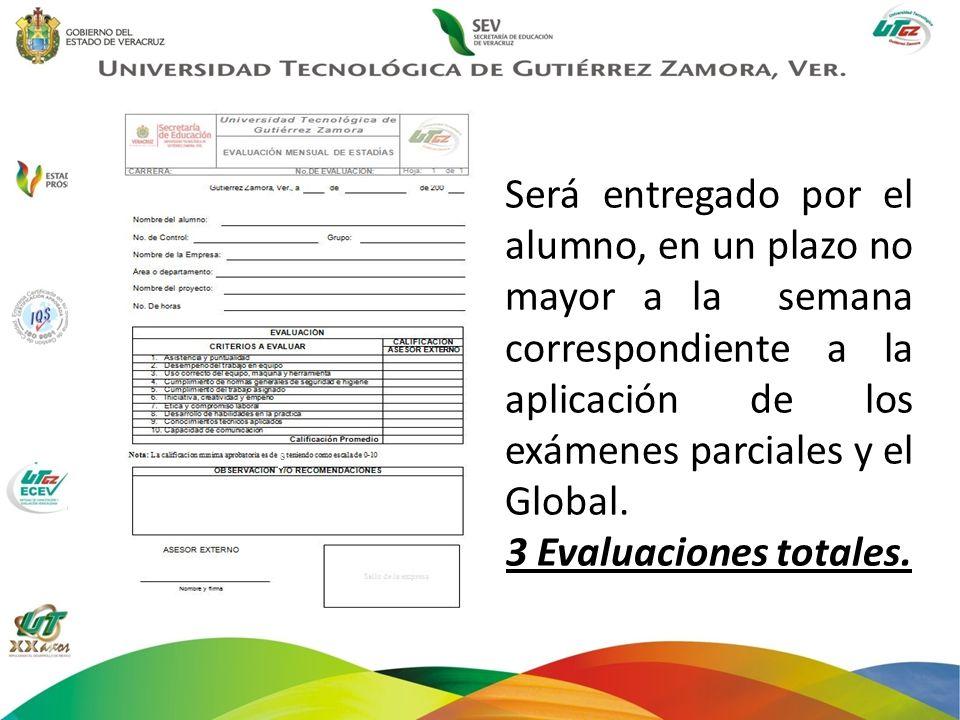 Será entregado por el alumno, en un plazo no mayor a la semana correspondiente a la aplicación de los exámenes parciales y el Global.
