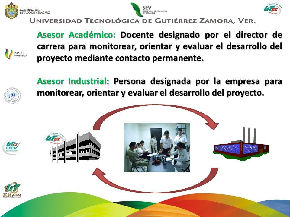 Asesor Académico: Docente designado por el director de carrera para monitorear, orientar y evaluar el desarrollo del proyecto mediante contacto permanente.