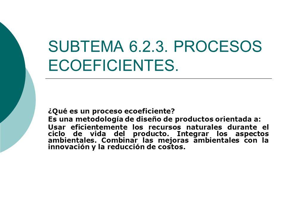 SUBTEMA 6.2.3. PROCESOS ECOEFICIENTES.