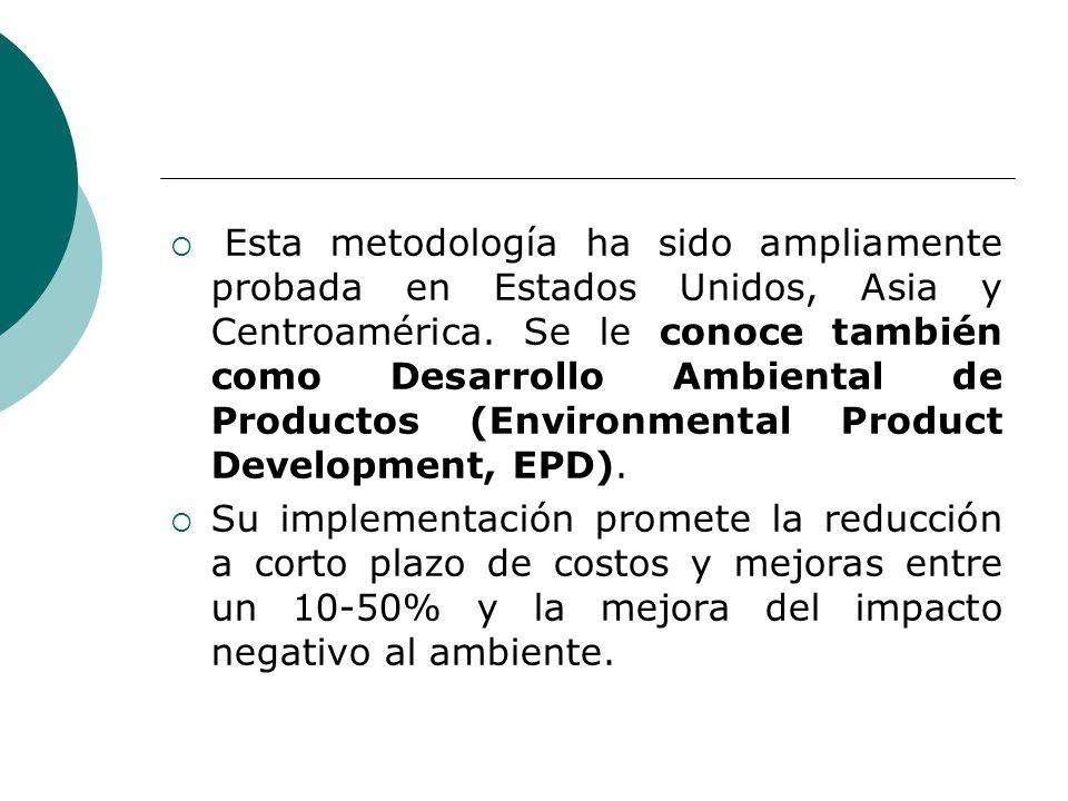 Esta metodología ha sido ampliamente probada en Estados Unidos, Asia y Centroamérica. Se le conoce también como Desarrollo Ambiental de Productos (Environmental Product Development, EPD).