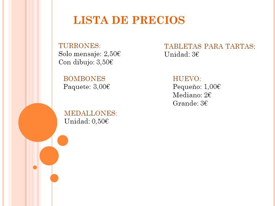 LISTA DE PRECIOS TURRONES: Solo mensaje: 2,50€ Con dibujo: 3,50€