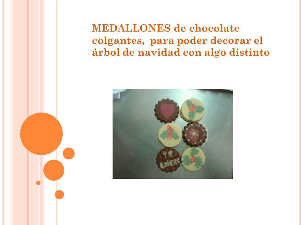 MEDALLONES de chocolate colgantes, para poder decorar el árbol de navidad con algo distinto