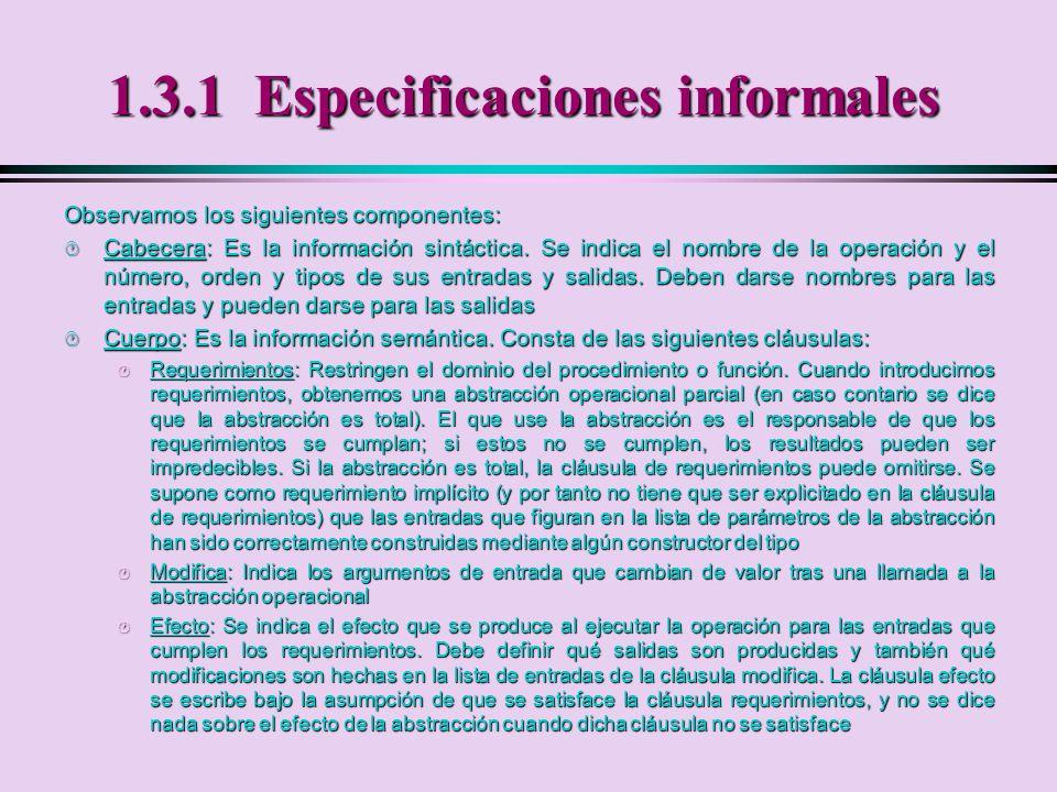 1.3.1 Especificaciones informales