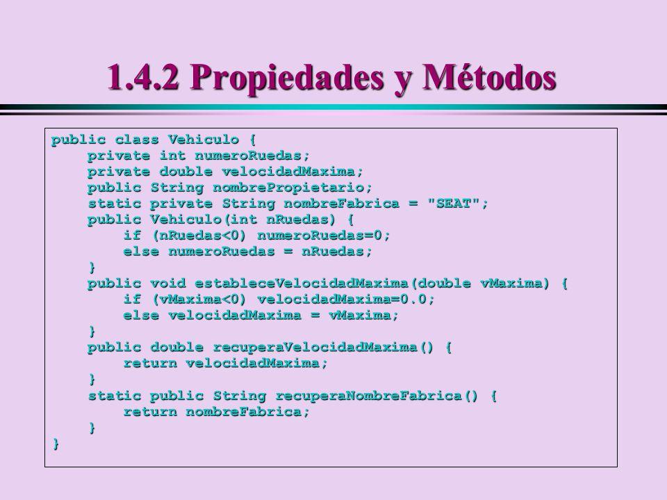 1.4.2 Propiedades y Métodos public class Vehiculo {