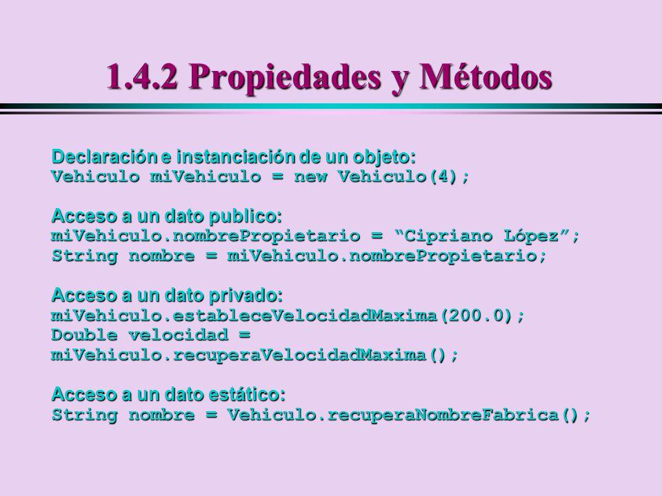 1.4.2 Propiedades y Métodos Declaración e instanciación de un objeto: