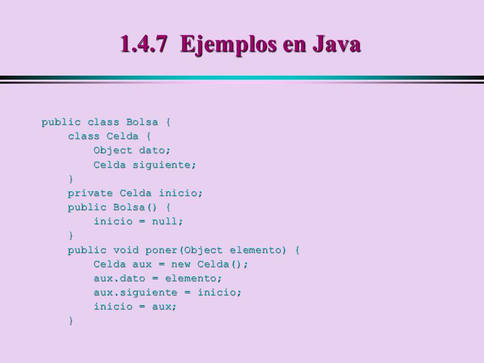 1.4.7 Ejemplos en Java public class Bolsa { class Celda { Object dato;