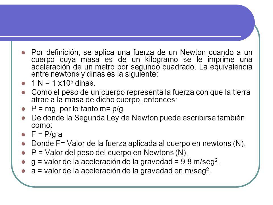 Por definición, se aplica una fuerza de un Newton cuando a un cuerpo cuya masa es de un kilogramo se le imprime una aceleración de un metro por segundo cuadrado. La equivalencia entre newtons y dinas es la siguiente: