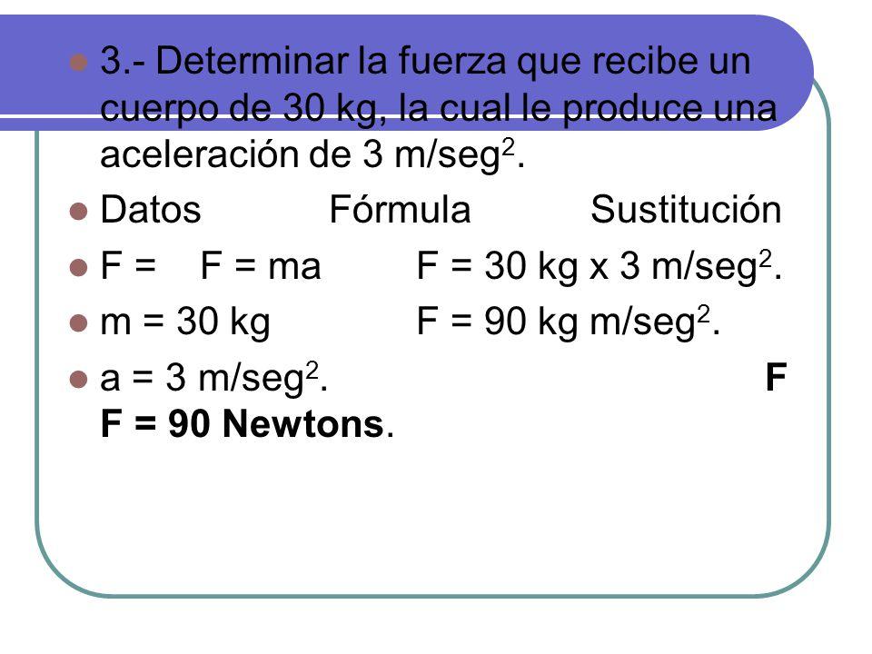3.- Determinar la fuerza que recibe un cuerpo de 30 kg, la cual le produce una aceleración de 3 m/seg2.